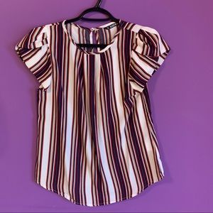 Foldover Pleated Front Puff Sleeve Striped Top